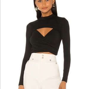 NEW SUPERDOWN BLACK WRAP TOP